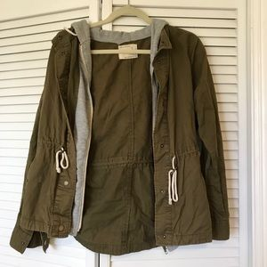 Army/Forest Green Zip & Button Jacket